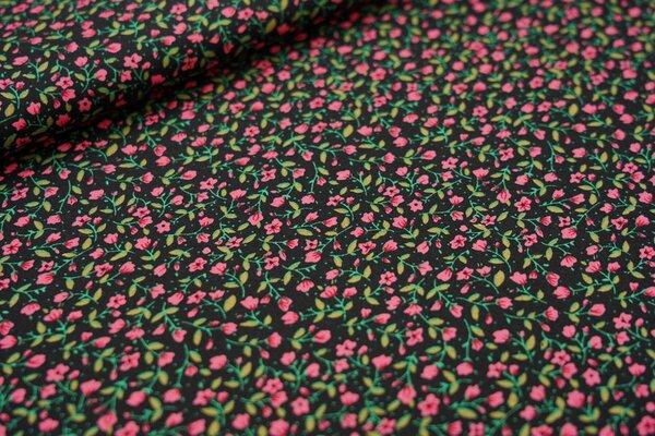 Baumwollstoff kleine Blümchen in koralle rosa / grün auf schwarz Blumen