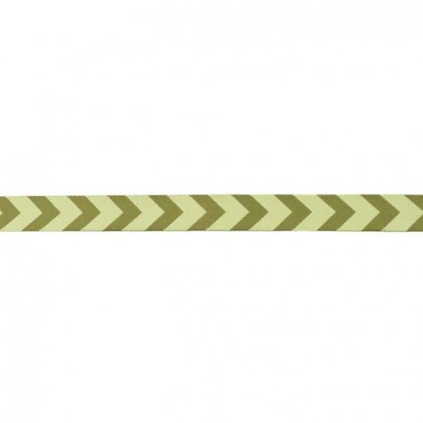 Webband Zierband mit Pfeilen hellgrün / olivgrün 15 mm