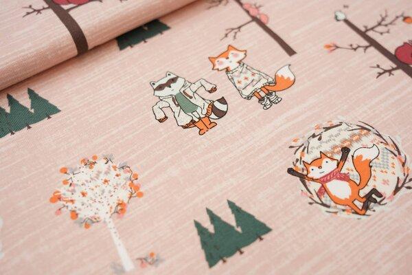 Baumwoll-Jersey Waldtiere und Bäume auf pastell rosa Fuchs Waschbär Eichhörnchen