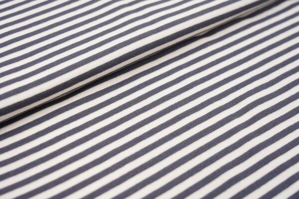 Ringelbündchen glatt Streifen weiss / dunkelgrau