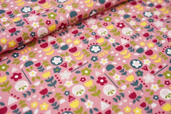 Baumwollstoff mit bunten Blumen altrosa / grün / gelb / rosa / rot / weiß