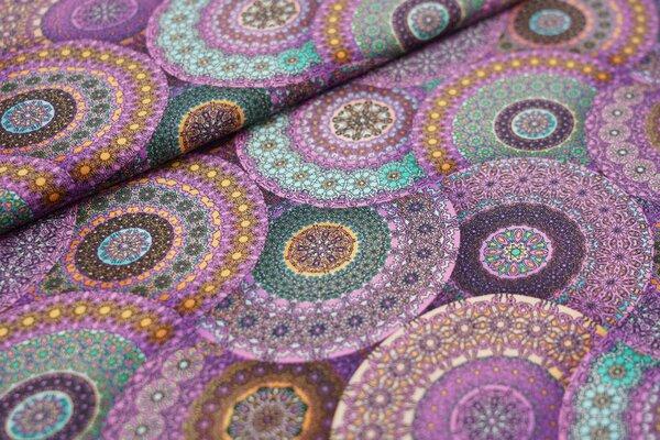 Baumwoll-Jersey Retro Kreise Ornamente rosa / lila / gelb / grün / hellblau