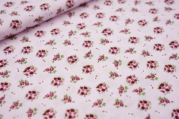 Baumwollstoff Blumensträuße auf rosa lila