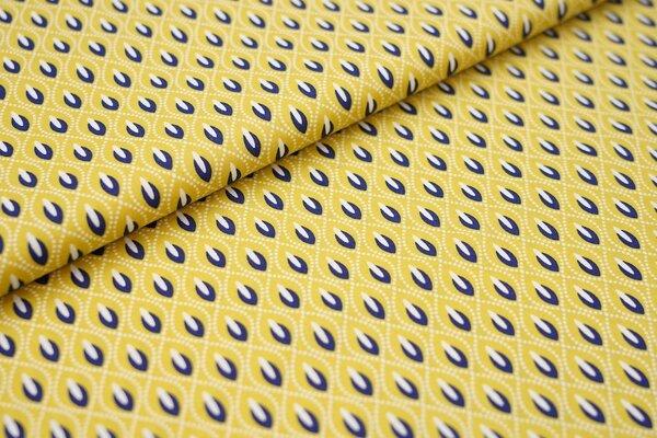 Baumwolle abstraktes Retro Muster ocker / weiß / dunkelblau