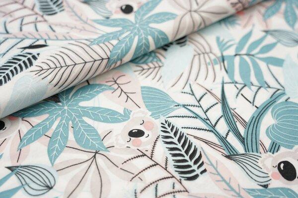 Sommer T-Shirt-Stoff / leichter Jersey Koalabären und Blätter weiß / blaugrau / rosa / beige