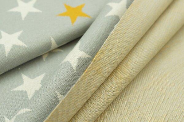 Jacquard-Sweat Ben off white und senf Sterne auf hellgrau