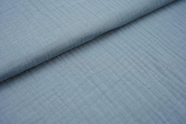 Musselin Stoff 3-lagig Triple Gauze uni jeansblau