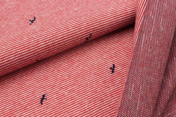 Jacquard-Sweat Ben kleine navy blaue Vögel auf rot / off white gestreift