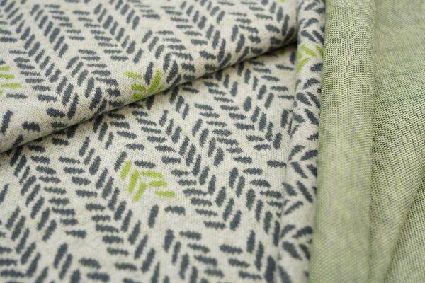 Jacquard-Jersey Blätter Muster Ähren off white / dunkelgrau / hellgrün