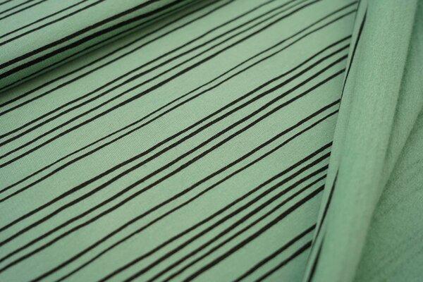 Kuscheliger Baumwoll-Sweat mit schmalen schwarzen Streifen Linien auf hellgrün