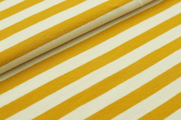 XXL Sommersweat MARIE Streifen groß senf ocker gelb creme