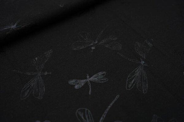 Baumwoll-Jersey Glitzer Libellen auf schwarz