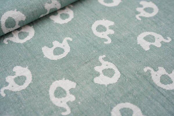 Baumwoll Jacquard doubleface Elefanten grün / weiß