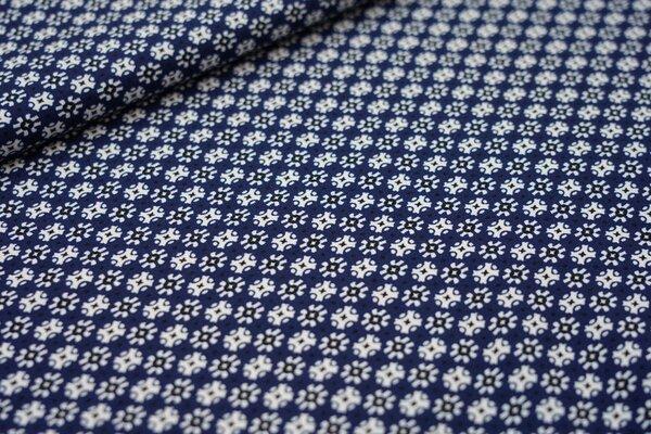 Baumwoll-Jersey Blumen-Kreise-Punkte Muster auf dunkelblau