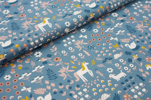 Baumwoll-Jersey Tiere und Blumen jeansblau Pferd Schwan Hund Schildkröte Schnecke