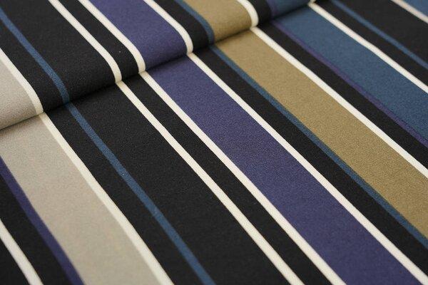Kreppstoff Crepe Georgette bunte Streifen schwarz / creme / dunkelblau / braun