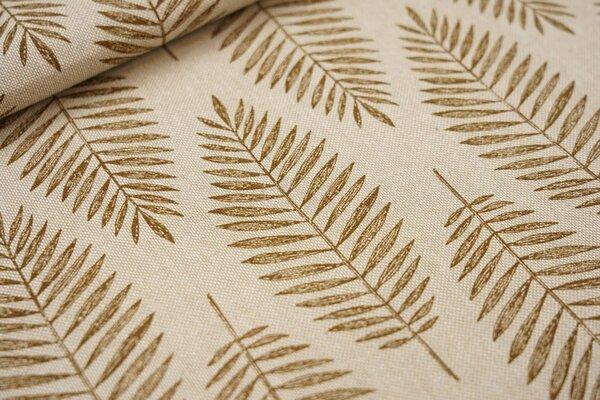 Canvas-Stoff Dekostoff in Leinenoptik Palmenblätter natur / braun