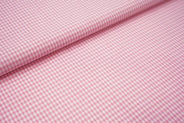 Baumwollstoff Baumwolle vichykaro Karomuster sehr klein kariert weiß / rosa