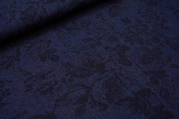 Sommer Jeans-Stoff schwarzes Blumen-Muster auf dunkelblau jeansblau