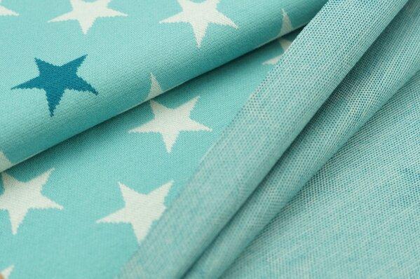 Jacquard-Sweat Ben off white und petrol Sterne auf eisblau