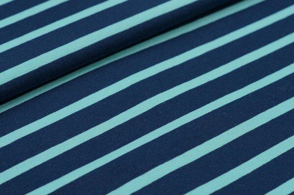 XXL Baumwoll-Jersey Marie Streifen Ringel 6 und 16 mm navy blau und eisblau