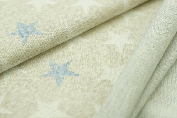 Jacquard-Sweat Mia off white und jeansblaue Sterne auf pastell beige Melange