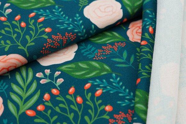 XXL Baumwoll-Sweat mit Digitaldruck Rosen Blumen Blätter auf petrol