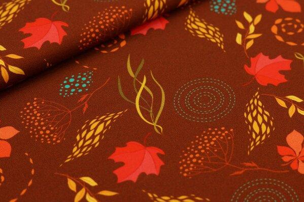 Baumwoll-Jersey Digitaldruck Herbst Blätter Muster klein auf rotbraun