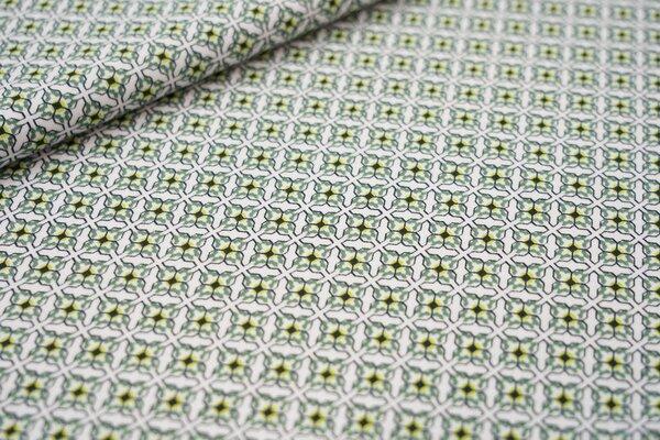 Baumwoll-Jersey Retro Kachel-Muster weiß armee grün limette schwarz