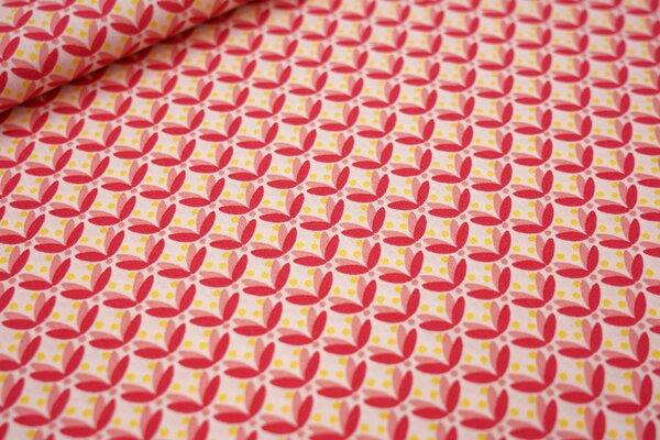 Baumwolle Blätter und Punkte hellrosa / koralle / rot / gelb