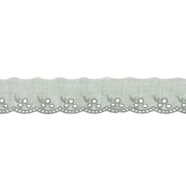 Baumwoll Spitze mit Blumen-Muster grau Spitzenbordüre Borte