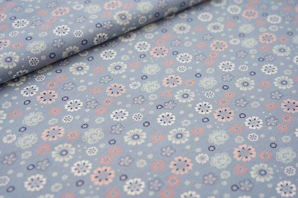 Baumwoll-Jersey Blumen Blüten blaugrau / lachs / mint / weiß / dunkelblau
