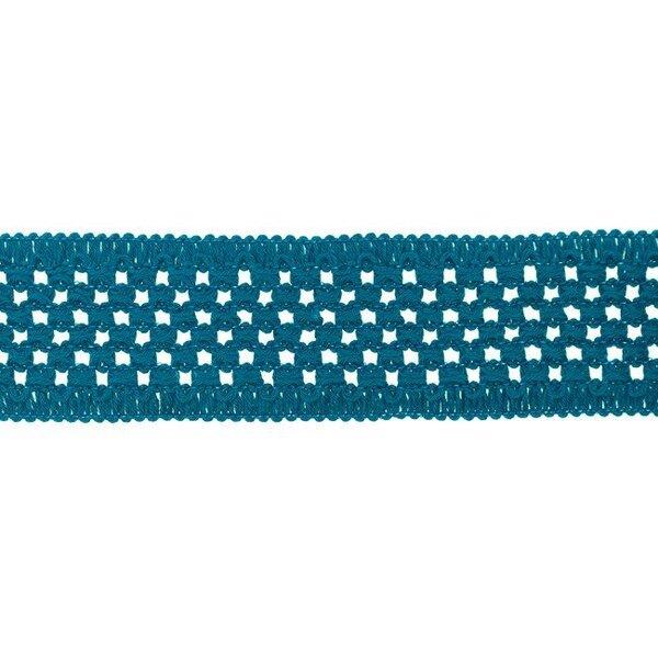 Elastisches Baumwollband in Häkeloptik uni petrol 50 mm
