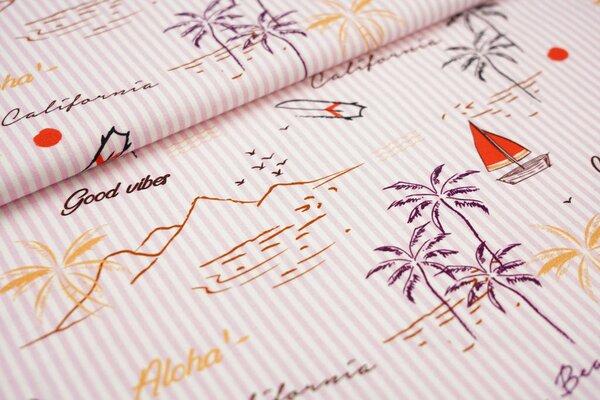 Baumwoll-Jersey Digitaldruck Insel Palmen Boote Streifen rosa / off white