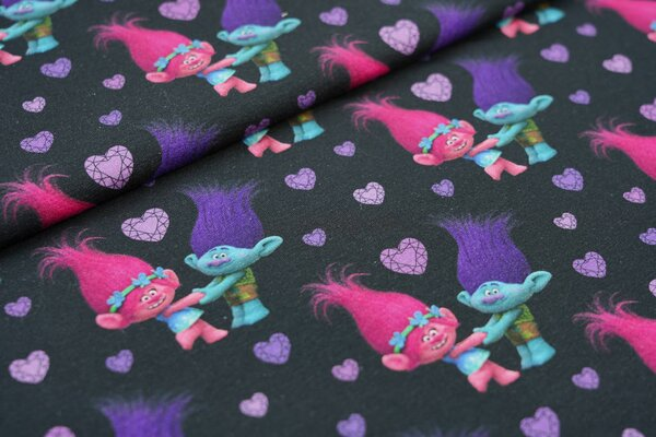 Jersey Trolls Poppy und Branch Digitaldruck lila Herzen auf schwarz