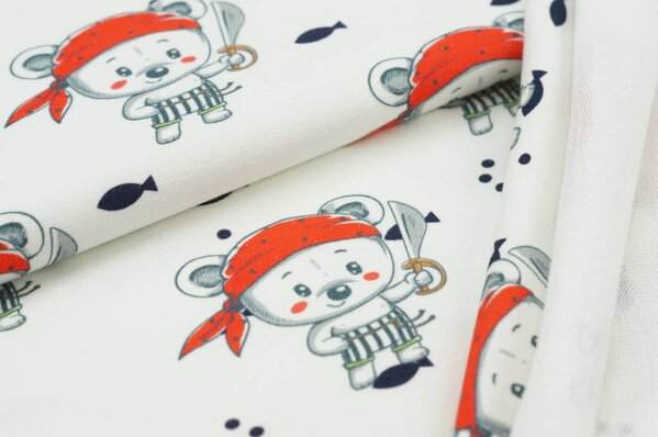 Baumwoll-Sweat Digitaldruck Piraten Teddybär Fische off white / dunkelblau / rot