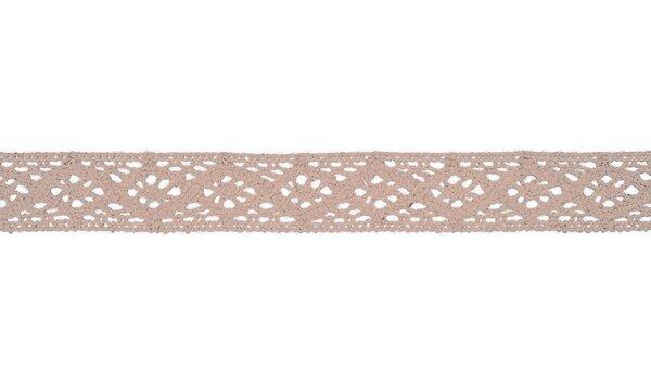 Baumwolle Spitzenborte Häkelborte uni puderrosa 20 mm breit Klöppelspitze