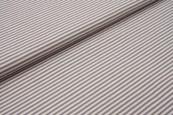 Baumwoll-Jersey Streifen Ringel hellgrau / grau