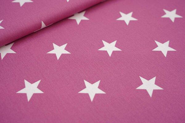 Baumwollstoff Baumwolle altrosa violett mit sehr großen weißen Sternen