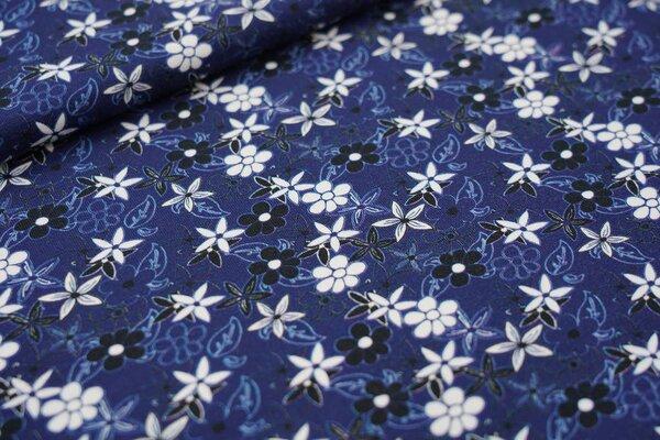 Baumwoll-Jersey weiße und schwarze Blumen auf dunkelblau