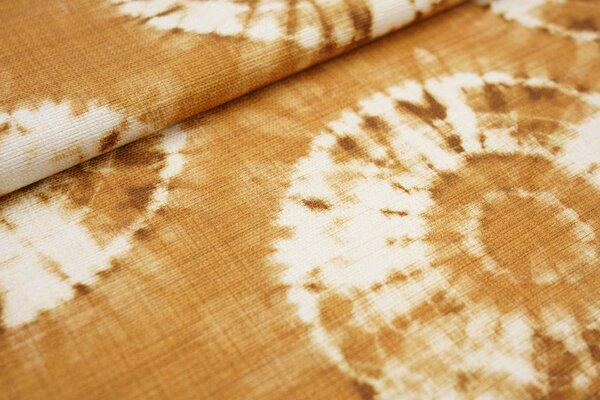 Canvas-Stoff Dekostoff Retro Kreise Batik Optik gelborange / hell beige