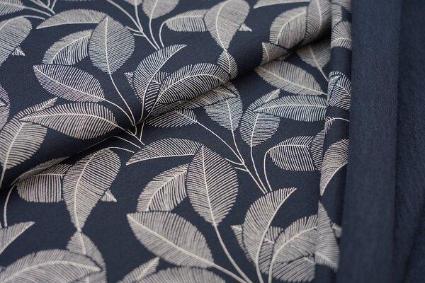 Kuscheliger Baumwoll-Sweat weiße Blätter auf sehr dunkelblau