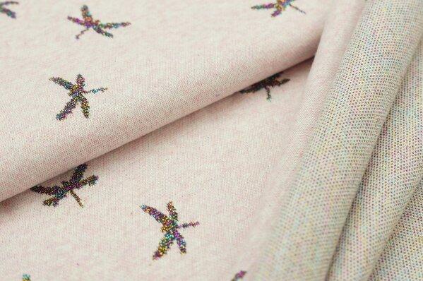 Jacquard-Sweat Mia bunte Lurex Glitzer Libellen auf pastell rosa Melange