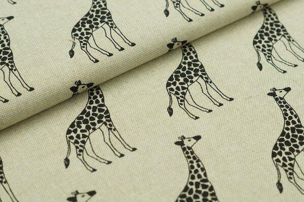 Dekostoff Leinenoptik Giraffen natur schwarz