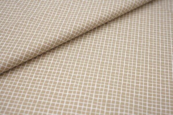 Baumwollstoff Baumwolle beige mit kleinen weißen Rauten Karos