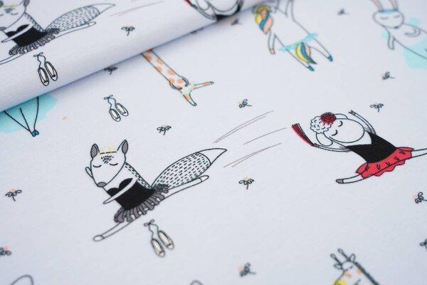 Baumwoll-Jersey träumende Ballerina Tiere auf hellblau Einhorn Fuchs Hase Schaf