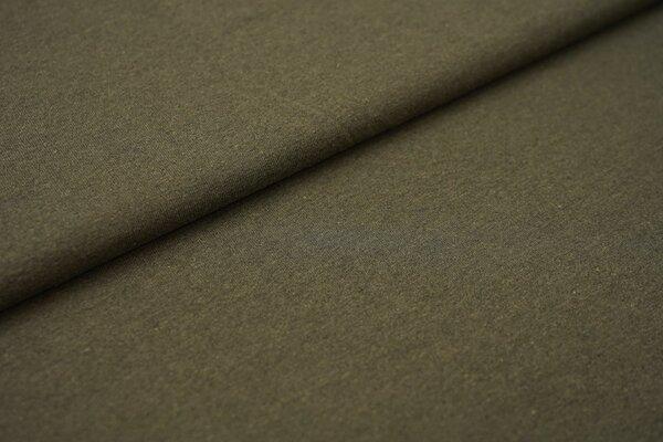 Baumwoll-Jersey Recycelt einfarbig uni grün khaki meliert