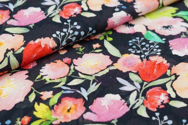 Baumwoll-Jersey Digitaldruck Aquarell Blüten Blumen Rosen auf schwarz