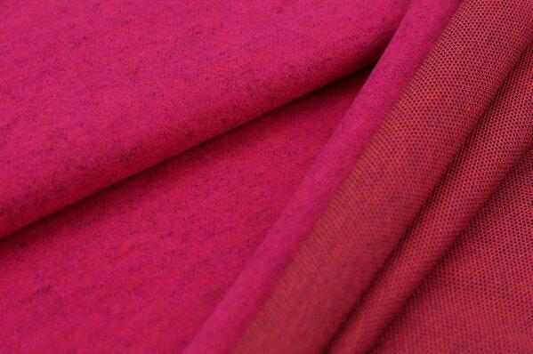 Kuschel Jacquard-Sweat Max amarant pink mit navy blau und orange