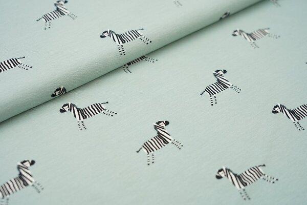 Baumwoll-Jersey träumende Zebras auf altmint